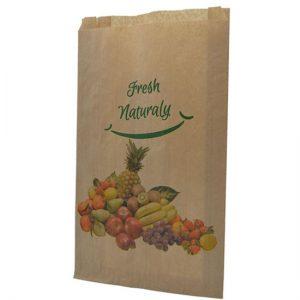 Bolsa de papel para fruta por delante