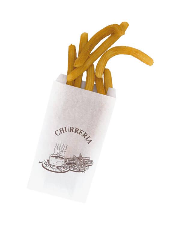 Bolsa de papel blanco antigrasa con churros